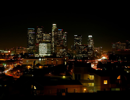 ca: Los Angeles, CA, Skyline at Night