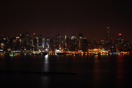 New York Skyline at night across river