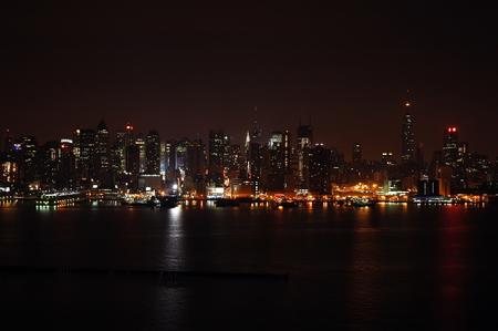 New York Skyline at night across river