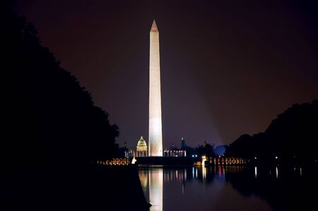 Washington Monument at Night with Capitol in background
