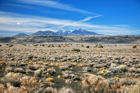 Mountains seen from desert, Waputki, AZ Stock Photo