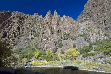 Canyon walls at Black Canyon of the Gunnison Stock Photo