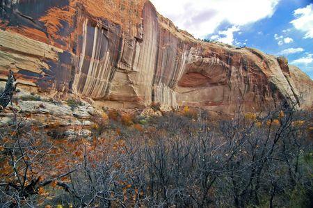 escalante: Escalante Cliffs with Fall Colors Stock Photo