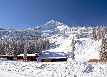 Snow Covered Mountain with Ski Area