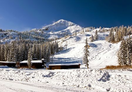 wasatch: Snow Covered Mountain with Ski Area