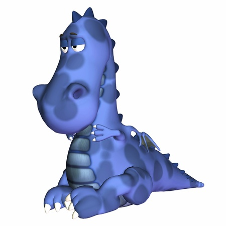 Illustration of an ill blue dragon isolated on a white background