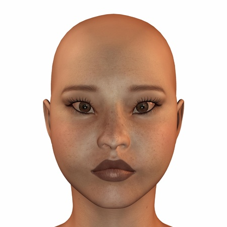 Illustration of the face of an asian female isolated on a white background illustration