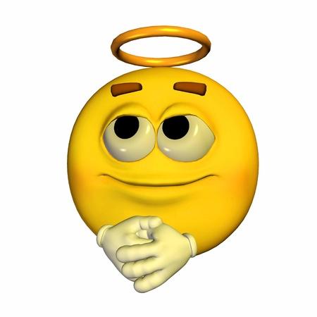 Illustratie van een engelachtige gele emoticon geïsoleerd op een witte achtergrond