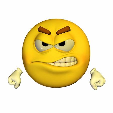 persona enojada: Ilustración de un emoticono amarillo enojado aislado en un fondo blanco Foto de archivo
