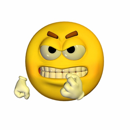 Illustration of a threatening yellow emoticon isolated on a white background