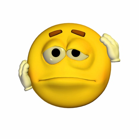 Illustration of a beaten up yellow emoticon isolated on a white background illustration