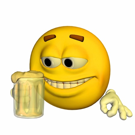 Illustration of a yellow emoticon holding a glass of beer isolated on a white background