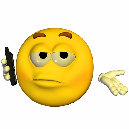 Illustration of a yellow emoticon holding a mobile phone isolated on a white background Stock fotó