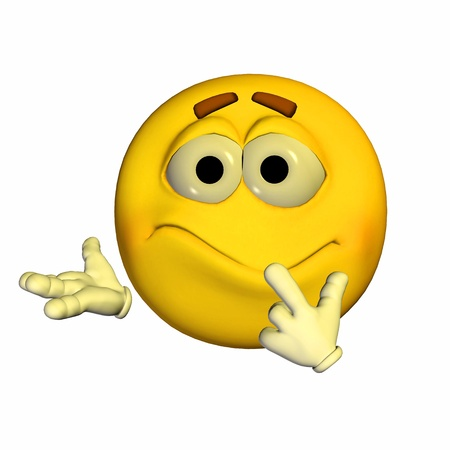 unsure: Illustration of a worried yellow emoticon isolated on a white background