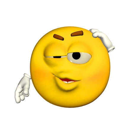Illustration of an embarrassed yellow emoticon isolated on a white background
