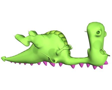 lagartija: Ilustración de un dragón dormido verde aislado en un fondo blanco