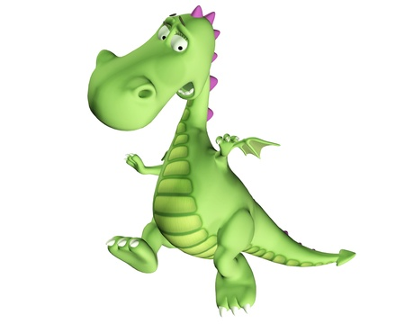 scare: Illustration of a scared green dragon isolated on a white background