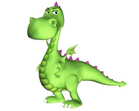 Illustration of a suspicious green dragon isolated on a white background illustration
