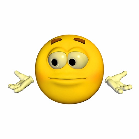 Illustration of a confused yellow emoticon isolated on a white background