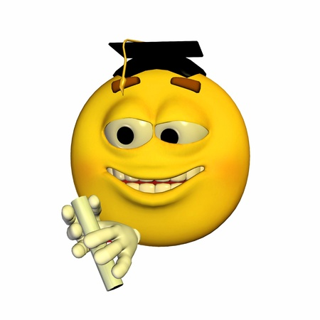 Illustration of a yellow emoticon graduating isolated on a white background illustration