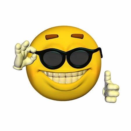 cool people: Illustration of a cool yellow emoticon isolated on a white background