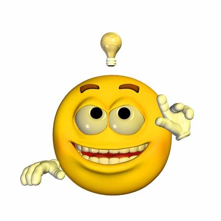 cara sonriente: Ilustración de un emoticono amarillo que tiene una idea brillante aislado en un fondo blanco