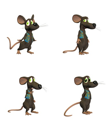 Illustration of cartoon mouse on four  4  different poses isolated on a white background  - 1 of 3 Stock Illustration - 12673876
