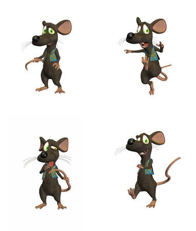 Illustration of cartoon mouse on four  4  different poses isolated on a white background  - 1 of 3 Stock Illustration - 12673878