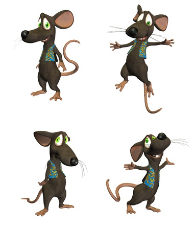 Illustration of cartoon mouse on four  4  different poses isolated on a white background  - 1 of 3 Stock Illustration - 12673883