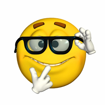 Illustration of a nerd yellow emoticon isolated on a white background illustration