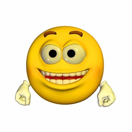 Illustration of a happy yellow emoticon isolated on a white background illustration