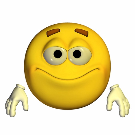 Illustration of a pleased yellow emoticon isolated on a white background illustration