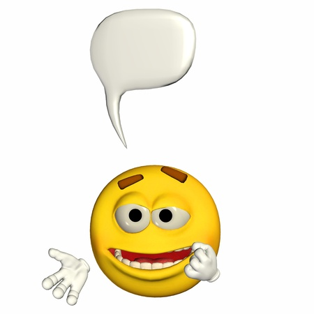 Illustration of a talking yellow emoticon isolated on a white background