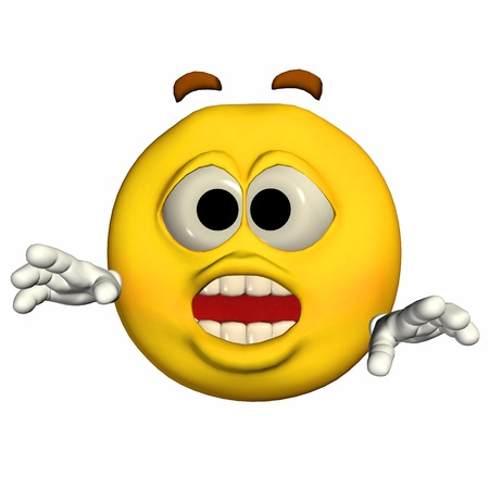 shocking face: Illustration of a frightened yellow emoticon isolated on a white background