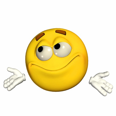Illustration of an uncertain yellow emoticon isolated on a white background