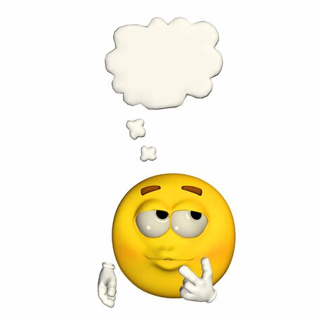 wondering: Illustration of a thinking yellow emoticon isolated on a white background