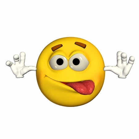 Illustration of a goofy yellow emoticon isolated on a white background Stock Photo