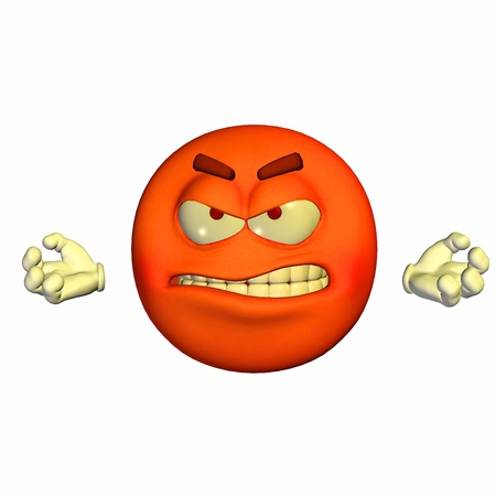 menacing: Illustration of an enraged red emoticon isolated on a white background