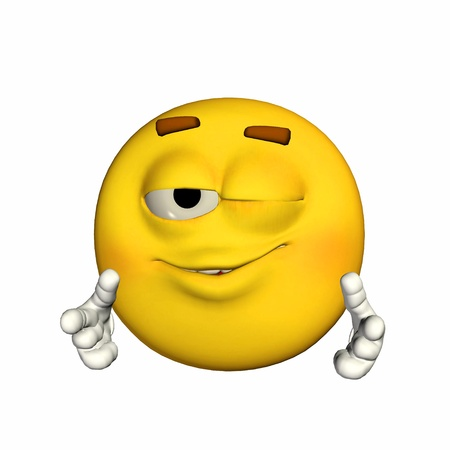 winking: Illustration of a winking yellow emoticon isolated on a white background
