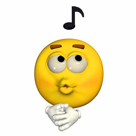 Illustratie van een fluitend gele emoticon geïsoleerd op een witte achtergrond Stockfoto
