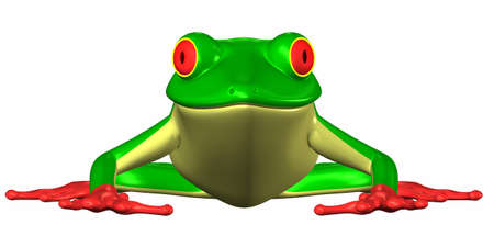 moist: Illustration of a green frog isolated on a white background Stock Photo