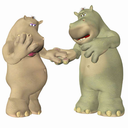 woo: Illustration of a couple of hippopotamus in love isolated on a white background Stock Photo