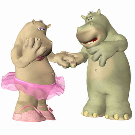 animal tutu: Illustration of a couple of hippopotamus in love isolated on a white background Stock Photo