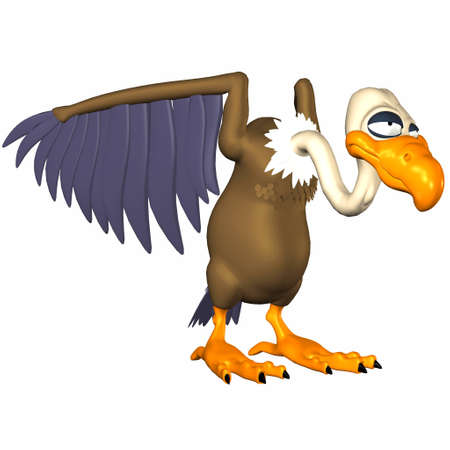 beak vulture: Illustration of a cartoon vulture isolated on a white background