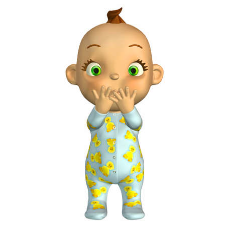 oops: Illustration of shy cartoon baby isolated on a white background Stock Photo