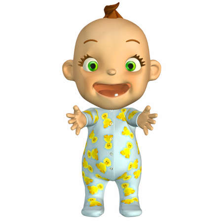 pyjama: Illustration of happy cartoon baby isolated on a white background