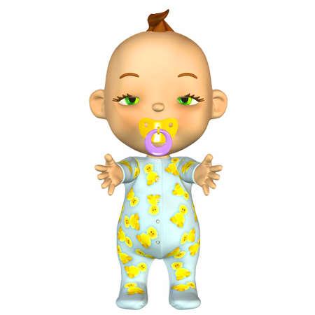 Illustration of sleepy cartoon baby isolated on a white background Stock Illustration - 12674368