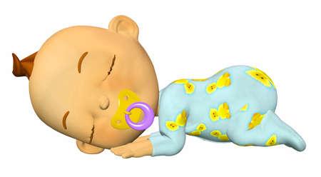 enfant qui dort: Illustration de bébé de dessin animé dormir isolé sur un fond blanc