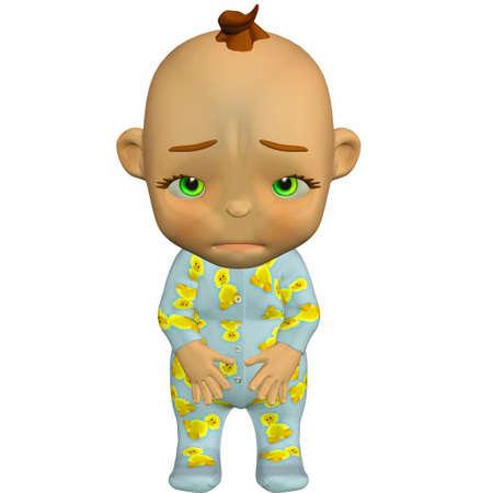 Illustration of sad cartoon baby isolated on a white background