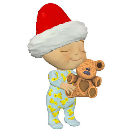 pyjama: Illustration of happy cartoon baby with a christmas hat hugging a teddy bear isolated on a white background